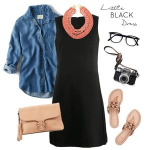 NWT GAP Black Eyelet Shift Dress Medium LBD